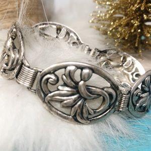 Danecraft Vtg 50s Sterling Art Deco Panel Bracelet